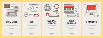 Grupo do vetor de bandeiras verticais com elementos surfando do conceito do Spam, do seo, da busca e da Web do email no projeto l Foto de Stock