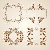 Grupo do vetor de beiras, elementos decorativos Foto de Stock