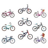 Grupo do vetor de bicicletas no estilo liso Imagens de Stock Royalty Free