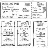 Grupo do vetor de bilhetes do esboço para o ônibus do plano, do ônibus, do bonde e de trole Foto de Stock Royalty Free