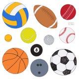 Grupo do vetor de bolas do esporte Esboço colorido tirado mão Isolado no fundo branco Coleção do esporte ilustração royalty free