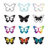 Grupo do vetor de borboleta Fotografia de Stock Royalty Free
