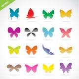 Grupo do vetor de borboleta colorida Fotos de Stock Royalty Free