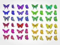 Grupo do vetor de borboletas coloridas Fotografia de Stock Royalty Free