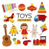 Grupo do vetor de brinquedos dos desenhos animados ilustração stock