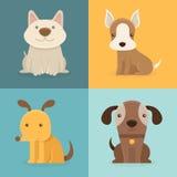 Grupo do vetor de cães dos desenhos animados no estilo liso Fotos de Stock Royalty Free