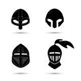Grupo do vetor de capacetes monocromáticos do cavaleiro Fotografia de Stock
