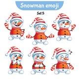 Grupo do vetor de caráteres bonitos do boneco de neve Grupo 5 Imagem de Stock