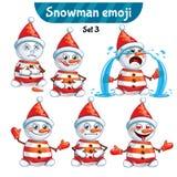 Grupo do vetor de caráteres bonitos do boneco de neve Grupo 3 Imagens de Stock