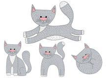 Grupo do vetor de caráteres do gato do esboço em poses diferentes Fotos de Stock Royalty Free