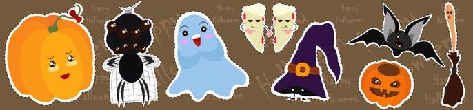 Grupo do vetor de caráteres e de ícones para Dia das Bruxas no estilo dos desenhos animados ilustração do vetor