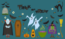 Grupo do vetor de caráteres e de ícones para Dia das Bruxas no estilo dos desenhos animados ilustração royalty free