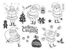 Grupo do vetor de caráteres e de objetos do Natal dos desenhos animados Mão dracma Fotografia de Stock