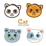 Grupo do vetor de caras diferentes dos gatos dos desenhos animados Foto de Stock