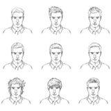 Grupo do vetor de caras do homem do esboço ilustração do vetor