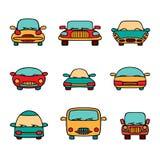 Grupo do vetor de carros dos desenhos animados Fotos de Stock Royalty Free