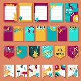 Grupo do vetor de cartões com instrumentos musicais e acessórios ilustração royalty free