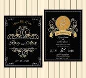 Grupo do vetor de cartões do convite com coleção do casamento dos elementos Imagens de Stock