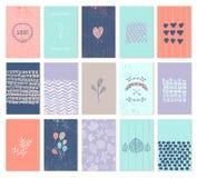 Grupo do vetor de cartões da arte Uso para o casamento Imagens de Stock