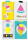 Grupo do vetor de cartões escandinavos Cartazes do verão Fotografia de Stock