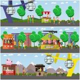 Grupo do vetor de cartazes do conceito do parque de diversões, bandeiras, estilo liso Fotos de Stock Royalty Free
