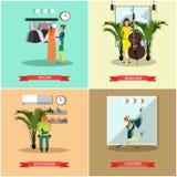 Grupo do vetor de cartazes lisos dos profissionais da arte e dos ofícios ilustração royalty free