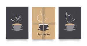 Grupo do vetor de cartazes ou de cartões no estilo do café Vintage ou moldes retros para insetos, convites, ou projeto do menu do ilustração royalty free