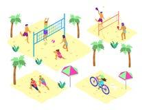 Grupo do vetor de cenas isom?tricas da praia com os povos diferentes que fazem esportes do ver?o ilustração do vetor