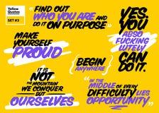 Grupo do vetor de citações inspiradores curtos Cartões inspiradores Handwr Imagem de Stock Royalty Free