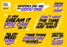 Grupo do vetor de citações inspiradores Frases curtos inspiradores Imagem de Stock Royalty Free