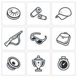 Grupo do vetor de Clay Shooting Icons ilustração royalty free