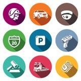 Grupo do vetor de ícones da polícia da patrulha da estrada Bobina, carro, CCTV, sinal, estacionamento, violação, multa, evacuação Imagens de Stock Royalty Free