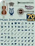 Grupo do vetor de 70 ícones dos instrumentos de música Foto de Stock Royalty Free