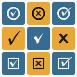 Grupo do vetor de ícones tirados mão das marcas de verificação Foto de Stock Royalty Free