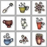 Grupo do vetor de copos de café decorativos com sombra longa ilustração do vetor