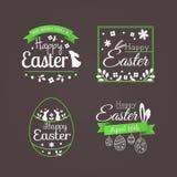 """Grupo do vetor de crachás bonitos e de etiquetas com  """"Happy de Easter†do título ilustração do vetor"""
