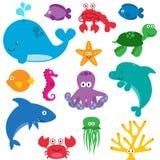 Grupo do vetor de criaturas bonitos do mar Foto de Stock Royalty Free