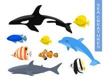 Grupo do vetor de criaturas do mar Foto de Stock Royalty Free