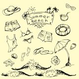 Grupo do vetor de curso do verão e emblemas e símbolos das férias Imagens de Stock Royalty Free