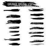 Grupo do vetor de cursos da escova do grunge Imagem de Stock