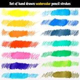 Grupo do vetor de cursos tirados mão do lápis da aquarela Imagem de Stock