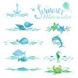 Grupo do vetor de decorações e de divisores da página do oceano da aquarela Fotos de Stock