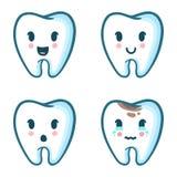 Grupo do vetor de dentes dos desenhos animados com emoções diferentes Foto de Stock Royalty Free