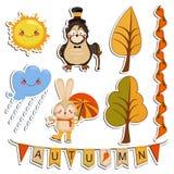 Grupo do vetor de desenhos dos desenhos animados, animais engraçados Fotos de Stock