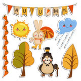 Grupo do vetor de desenhos dos desenhos animados, animais engraçados Fotos de Stock Royalty Free