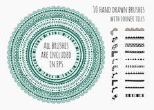 Grupo do vetor de dez escovas tiradas mão Imagens de Stock Royalty Free