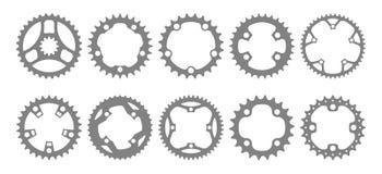 Grupo do vetor de dez silhuetas chainring da bicicleta ilustração stock