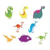 Grupo do vetor de dinossauros bonitos diferentes dos desenhos animados Fotografia de Stock Royalty Free