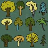 Grupo do vetor de doze árvores desenhados à mão dos desenhos animados bonitos Imagem de Stock