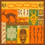 Grupo do vetor de elementos africanos estilizados e de ícones Fotos de Stock
